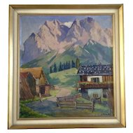 Hans Paap (1894-1966) Oil Painting Swiss Alps Village Paint on Canvas Signed by Listed Taos New Mexico Artist