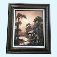 Allie Thomasson Louisiana Bayou Swamp Cove Landscape Oil Painting