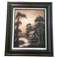 Allie Thomasson Louisiana Bayou Swamp Cove Landscape Oil Painting Signed by New Orleans Artist