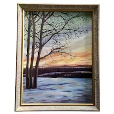 Leona M. Bechthold Winters Tree Sunset Landscape Oil Painting