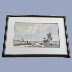 Crowell, Beached Fishing Boats European Watercolor Painting Signed by Artist 1889
