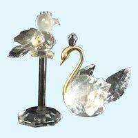 Lead Crystal Birds Vintage Figurines Parrot and Swan Aurora Borealis Rainbow Reflection