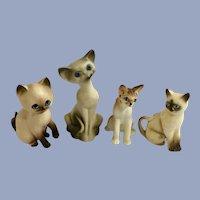 Vintage Miniature Blue Eyed Kitty Cats Figurines Group Japan
