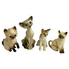 Vintage Miniature Blue Eyed Kitty Cats Figurines Group Japan