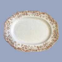 JHW & Sons Pansy Brown Transferware Tray Platter Semi-Porcelain 16""