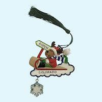 Aspen Colorado Moose Bobsledding Christmas Tree Ornament
