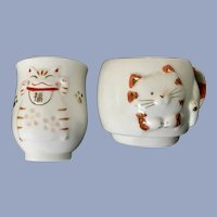 Seto Craft Cat Japan Pottery Cup & Small Saki Cup