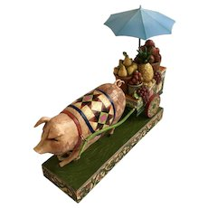 Jim Shore 'This Little Piggy Went To Market' 4008180 Pig Pulling Cart Figurine