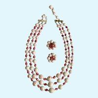 Pink and White Three Stranded Necklace with Matching Clip-On Earrings Japan