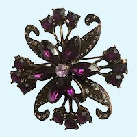 Vintage Purple and Copper Colored Floral Pin