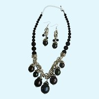 Dangling Beaded Necklace with Matching Earrings for Pierced Ears