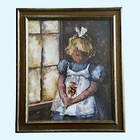 Jan Ledbetter, Young Girl Holding Daisy Flowers Acrylic Painting Signed by Listed Artist