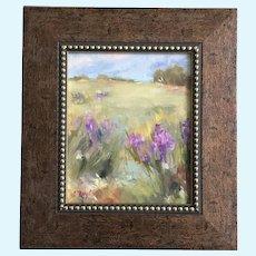 L Taylor, Purple Iris Flowers Landscape Oil Painting Signed by Artist
