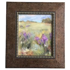 L Taylor, Purple Iris Flowers Landscape Oil Painting Signed by Artist