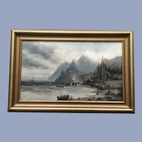 Old English Settlement Coastal Oil Painting 19th Century