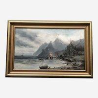 Old English Settlement Coastal Oil Painting 19th Century