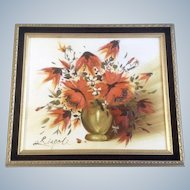 Rispoli, Orange and White Floral Display in Gold Vase Oil Panting on Canvas Signed by Artist