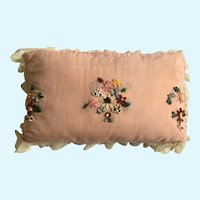 Archaic Hand Embroidered Pillow Flowers Lace Trim