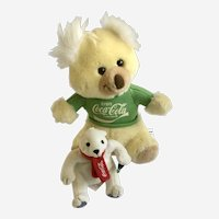 Vintage Coca-Cola Brand Koala and Polar Bear Plush Stuffed Animals Watabear Grrr