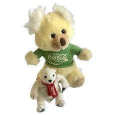 Vintage Coca-Cola Brand Koala and Polar Bear Plush Stuffed Animals Watabear Grrr
