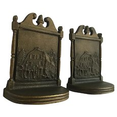 Cast-Iron Log Cabin Bookends Bradley and Hubbard Circa 1920's
