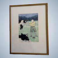 Jonathan Heath, Golf Pro The Cow Pie Watercolor Painting Signed by Artist