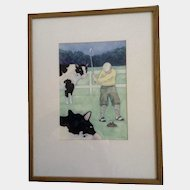 Jonathan Heath, Golf Pro The Cow Pie Tee Off Play Though Original Watercolor Painting Works on Paper Signed by Artist