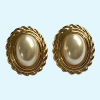 Napier Clip-On Earrings Faux Pearl and Gold-Tone