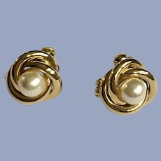 Napier Small Clip-On Earrings Faux Pearl and Gold-Tone