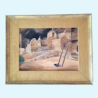 Melba White Mayall, Mesa Verda, Colorado American Indian Ruins Oil Painting