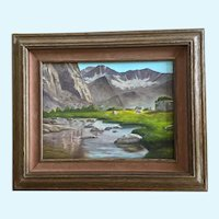 Barbara Olsen, Summers Alpine Lake Mountain Landscape Oil Painting Signed by Artist