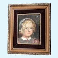 Portrait of Blue Eyed Girl in Bonnet Oil Painting 1944