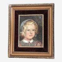Portrait of Blue Eyed Girl in Bonnet Oil Painting 1944