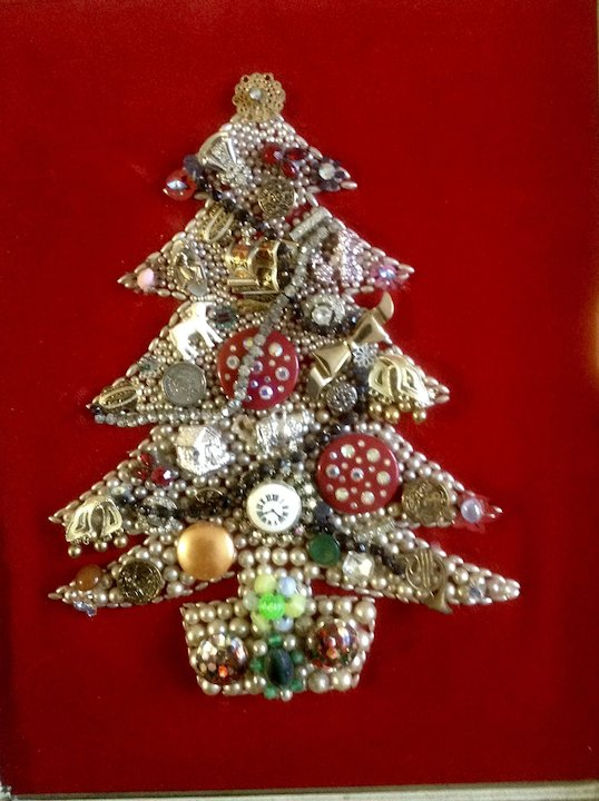 Costume Jewelry Christmas Tree Framed Picture Vintage Red Velvet