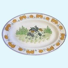 Luneville France Jumping Bunnies Platter Serving Plate 19th Century
