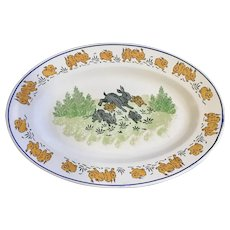 Luneville France Jumping Bunnies Platter Serving Plate 19th Century