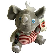 Coca-Cola Brand Plush Elephant in Bathing Suit Collectible Stuffed Animal