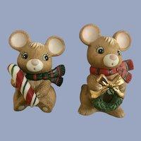 Homco Christmas Candy Cane Mice Ceramic Figurines
