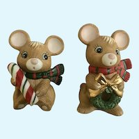 Homco Christmas Candy Cane Mice Ceramic Figurines