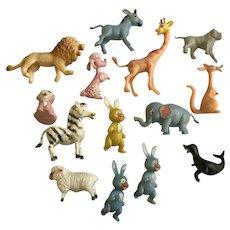 Rare 1950's Hong Kong Hard Plastic Animal Figures 14 set