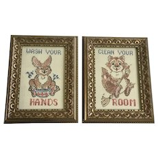 Wash Your Hands Clean Your Room Bunny & Squirrel Mid-Century Embroidery