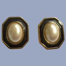 Monet Earrings Faux Pearl and Gold-Tone Clip-On