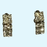 Faux Diamond Crystal Rhinestone Earrings Screw Back Clip-On