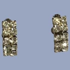 Faux Diamond Crystal Rhinestone Earrings Screw Back Clip-On