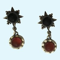 Dangling Faux Coral and Black Star Stud Post Earrings