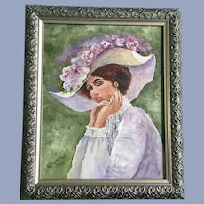 Fretia Miller, Victorian Lady Oil Painting Signed by Artist