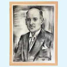 1933 Pastel Portrait of a Man Signed by Artist