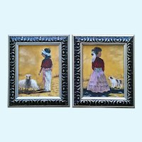 M Fendley, American Indian Girl and Boy Oil Paintings Signed by Artist