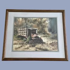 Turlington, Old Delivery Truck Watercolor Painting Signed by Artist