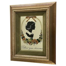 Mid-Century Beautiful Woman Silhouette Follow Your Dreams Mirror Picture
